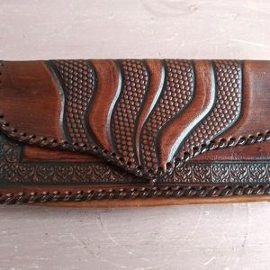 Rustic Hand Tooled Rawhide Leather Wallet